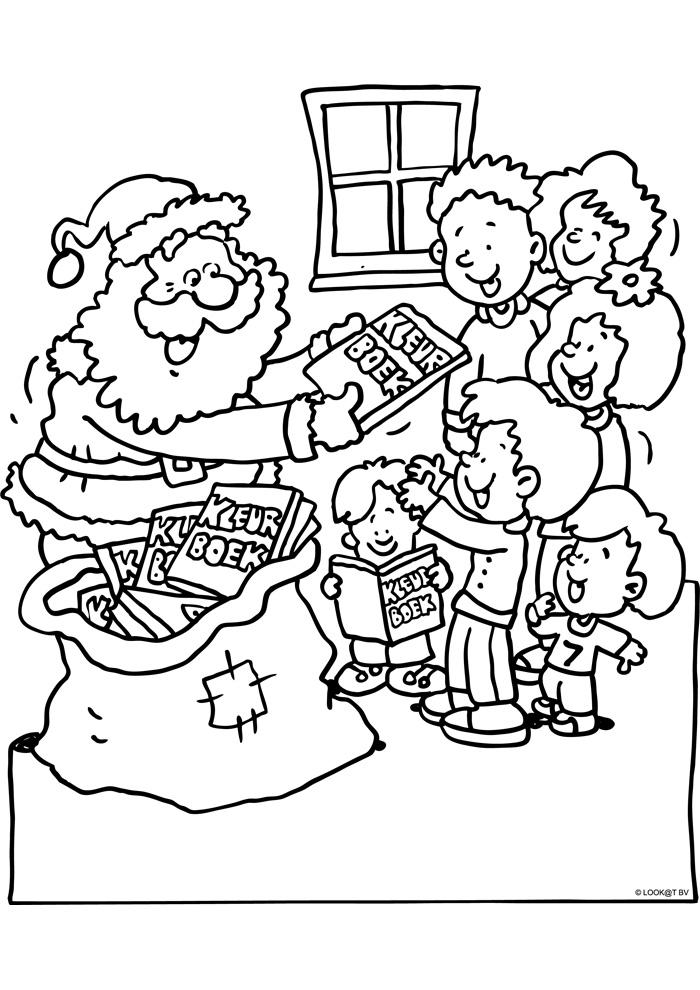 Kerstman geeft kleurboeken weg