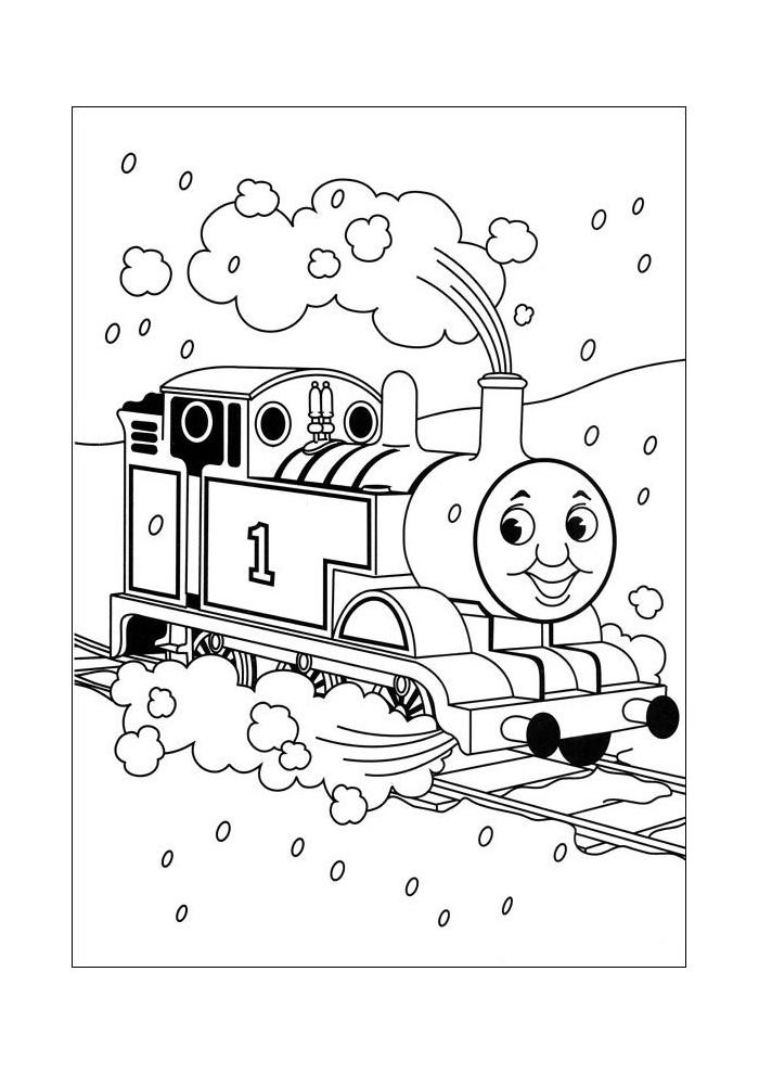 thomas de trein in de sneeuw
