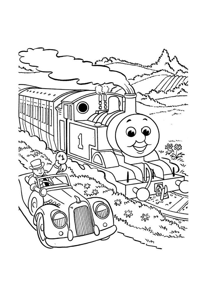 thomas de trein naast de auto - thomas de stoomlocomotief