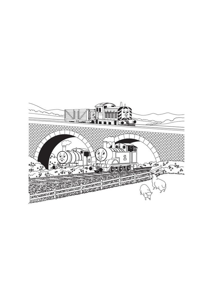 thomas de trein onder de brug