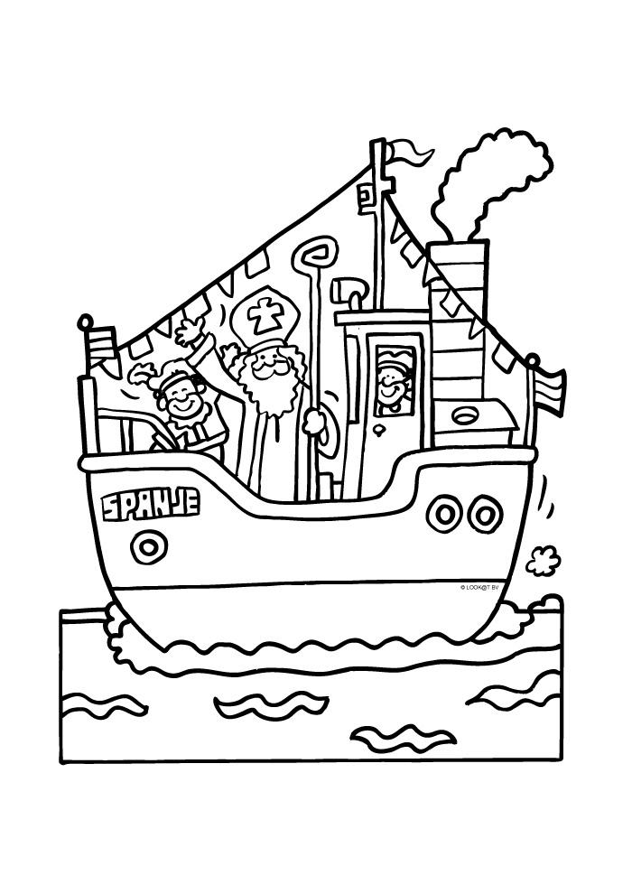 Pakjesboot met Sinterklaas aan boord