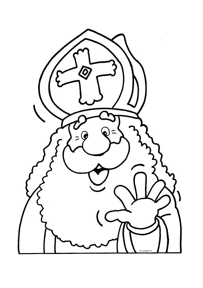 Sinterklaas Zwaait Sinterklaas Kleurplaten Kleurplaat Com