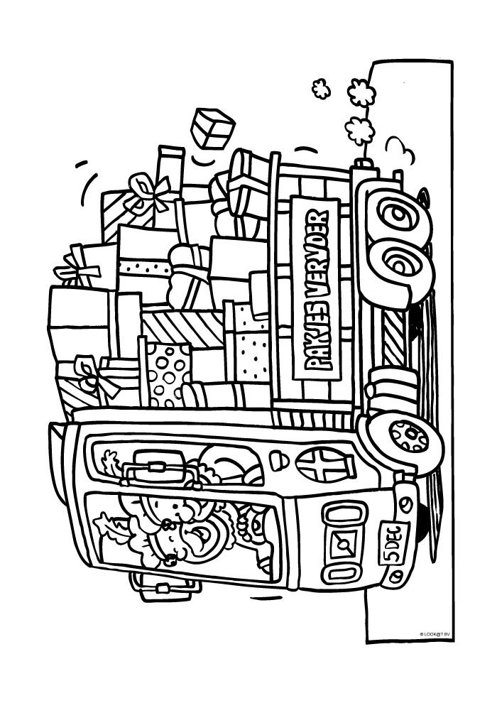 Vrachtauto vol met cadeautjes