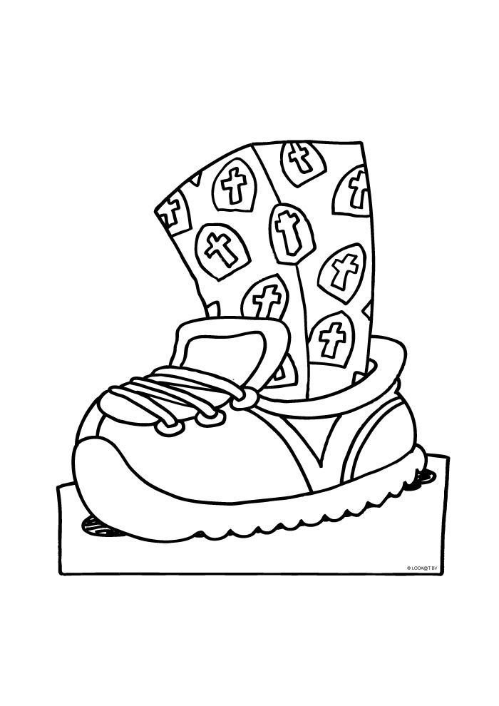 de schoen zetten sinterklaas kleurplaten kleurplaat