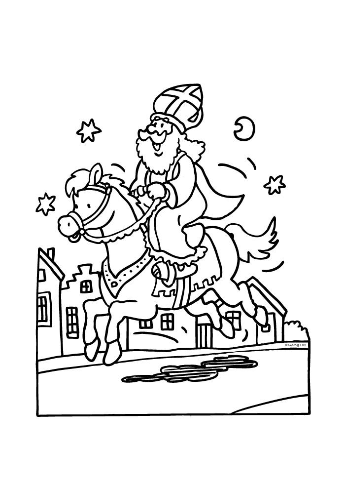 Kleurplaten Van Sinterklaas Zijn Paard.Sinterklaas Op Zijn Prachtige Paard Sinterklaas Kleurplaten
