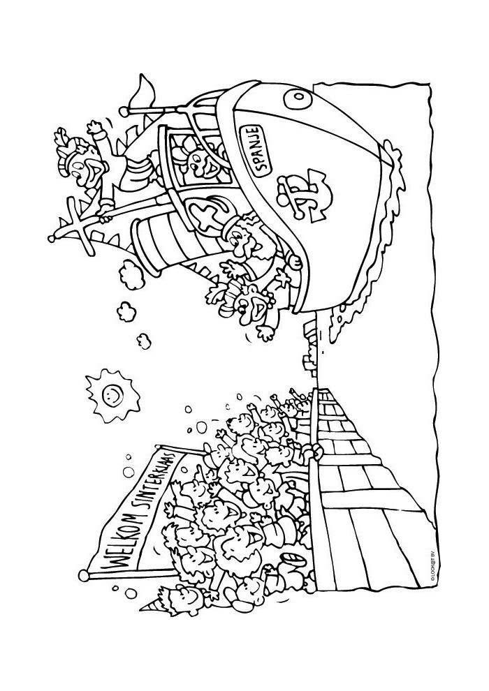 Kleurplaten Sinterklaas Stoomboot.Sinterklaasintocht Stoomboot Sinterklaas Kleurplaten Kleurplaat Com