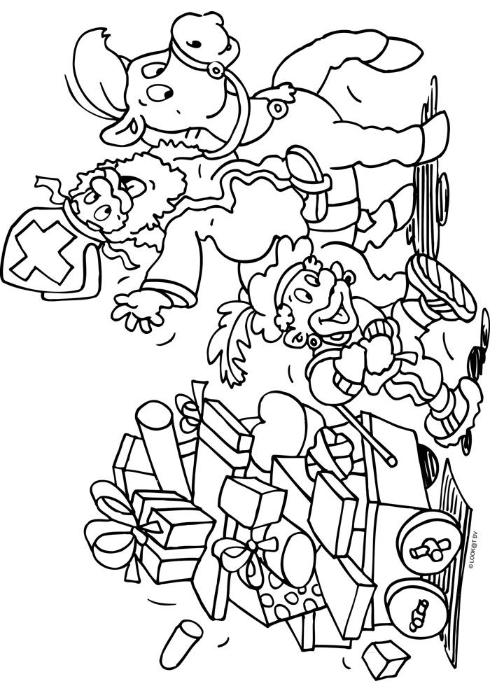 Kleurplaten Van Sinterklaas En De Pieten.Sint En Piet Met Heel Veel Cadeau S Sinterklaas Kleurplaten