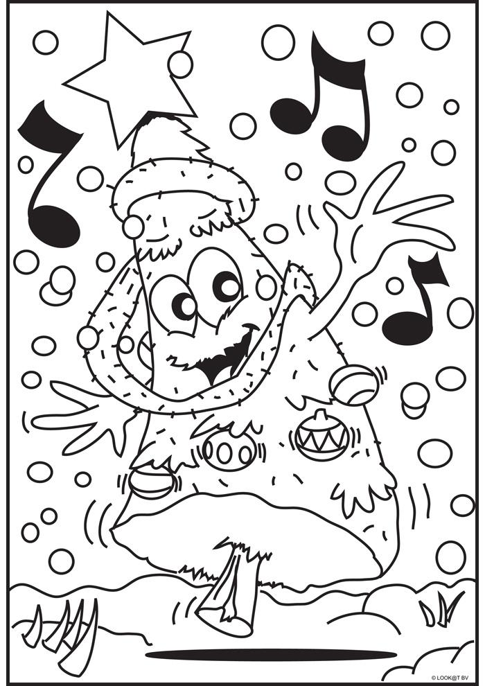 Zingende Kerstboom Kerst Kleurplaten Kleurplaat Com