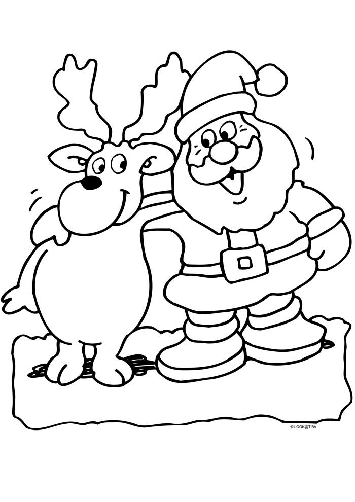 kerstman met rendier kerst kleurplaten kleurplaat