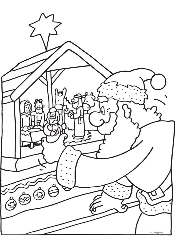 Kleurplaten Van Kerststallen.Kerstman Bij De Kerststal Kerst Kleurplaten Kleurplaat Com