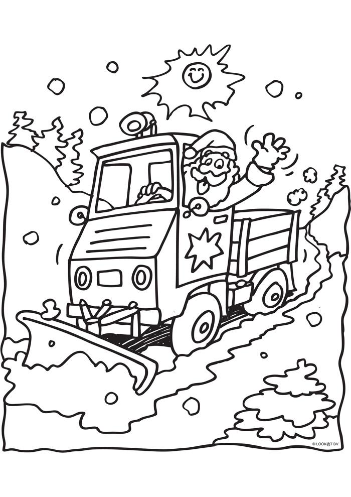 Kerstman in een sneeuwschuiver