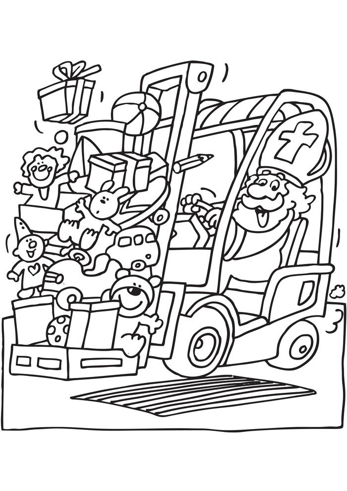 Sinterklaas op de heftruck