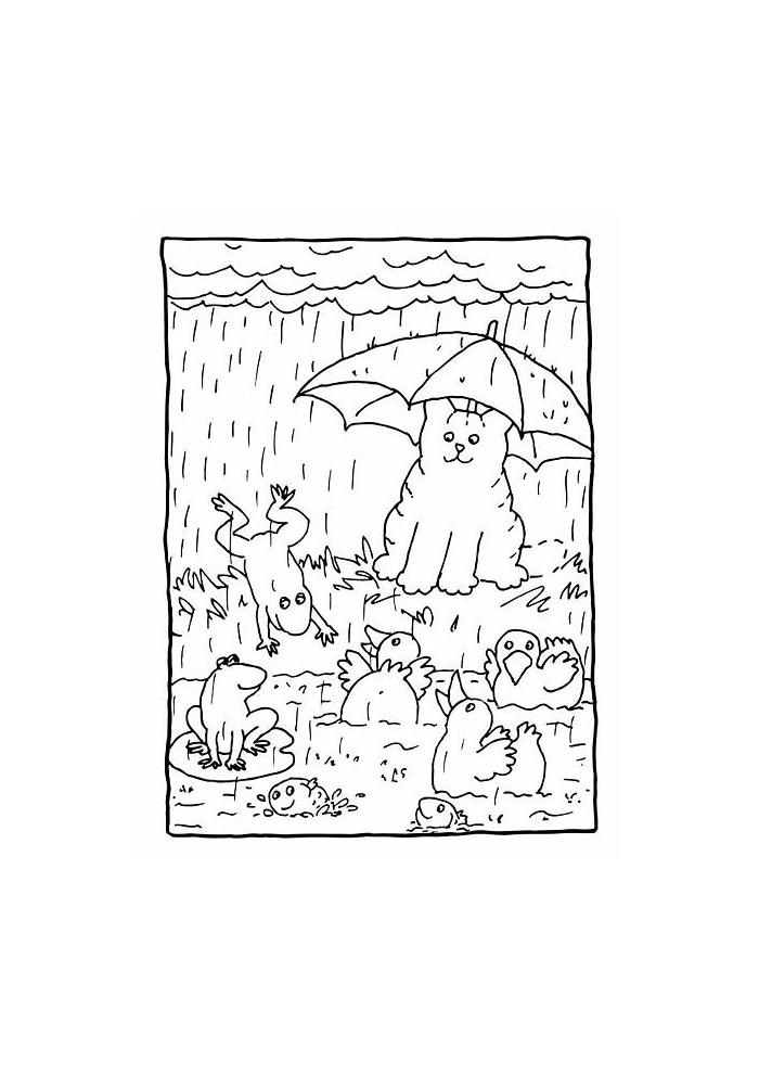 Dikkie Dik onder de paraplu
