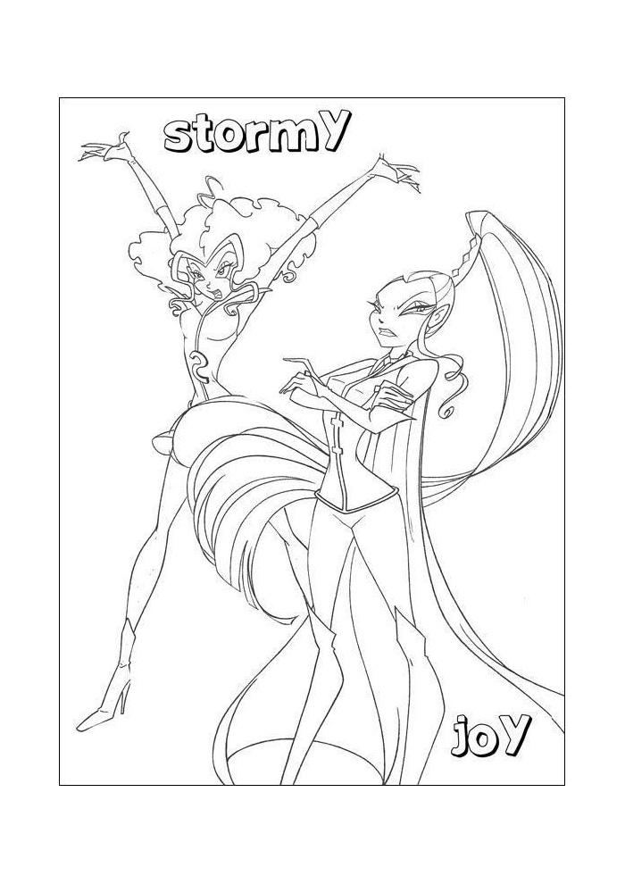 Winx Stormy En Joy Winx Club Kleurplaten Kleurplaat Com