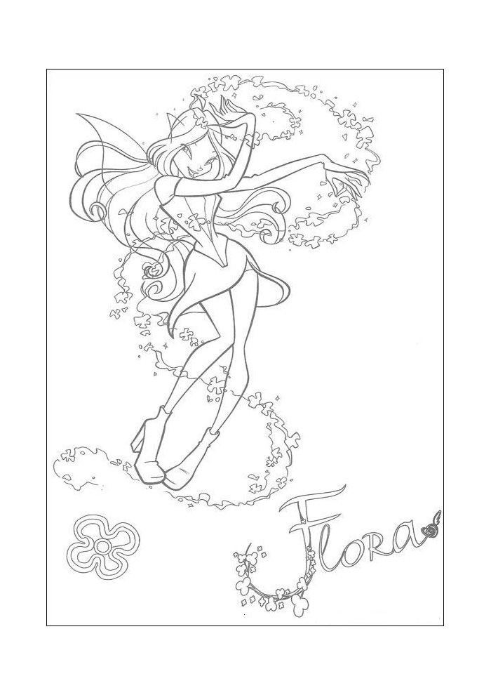 winx flora met een bloem winx club kleurplaten