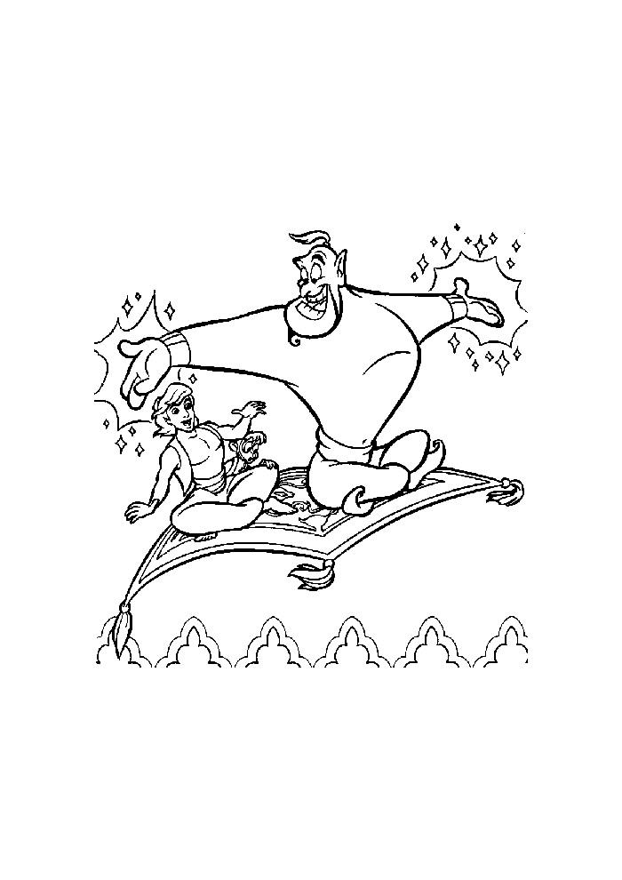 Alladin - samen met aapje en geest vliegen
