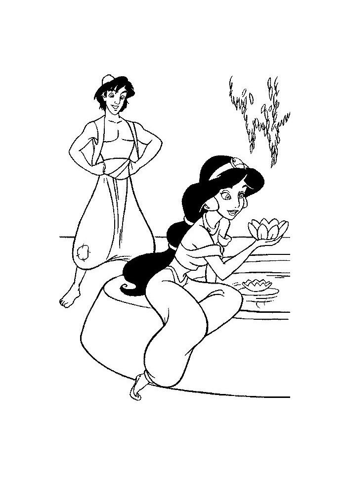 Alladin - jasmine zit bij het water