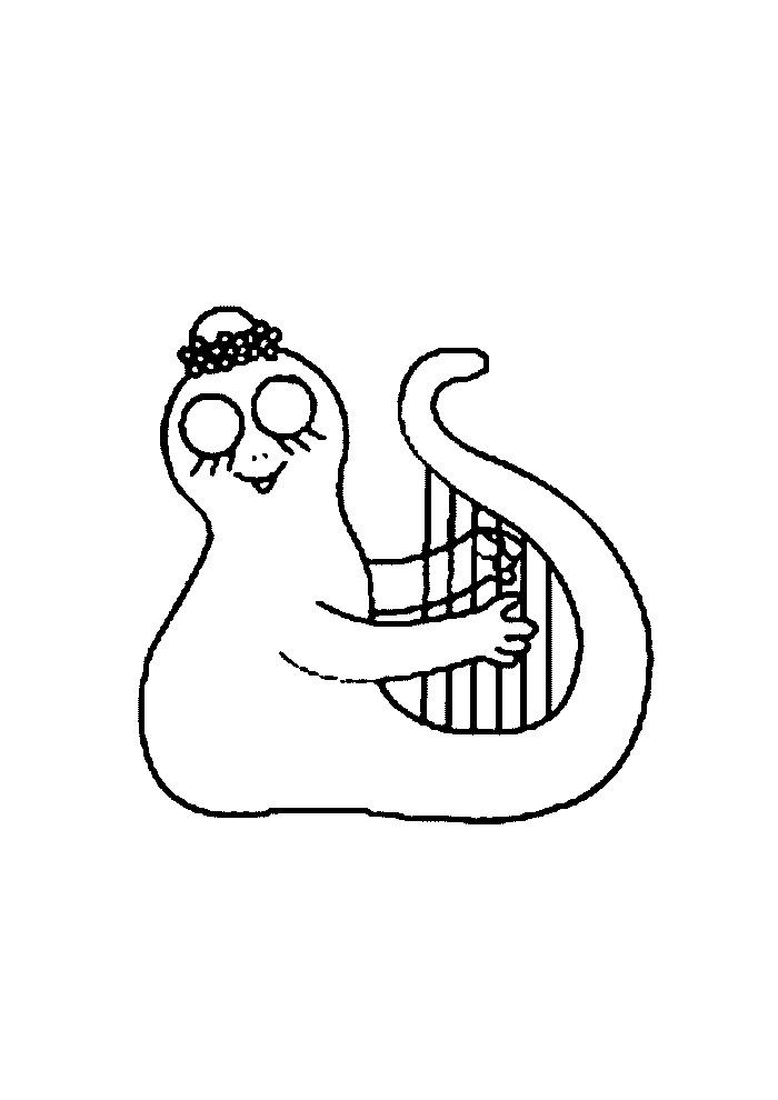 Barbapapa- muziek maken op een harp