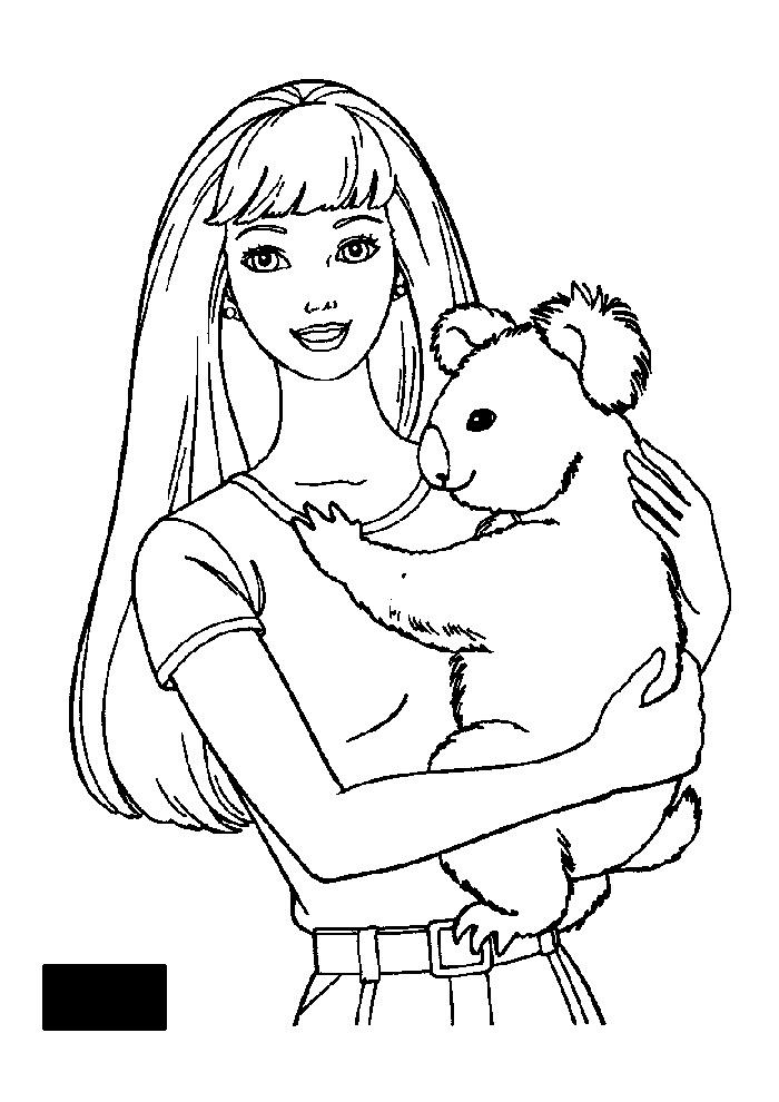 Barbie Met Koala Beertje Barbie Kleurplaten Kleurplaat Com