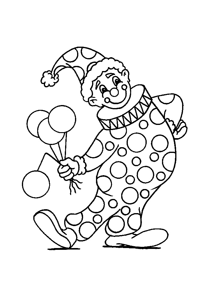 kleurplaten clown carnaval
