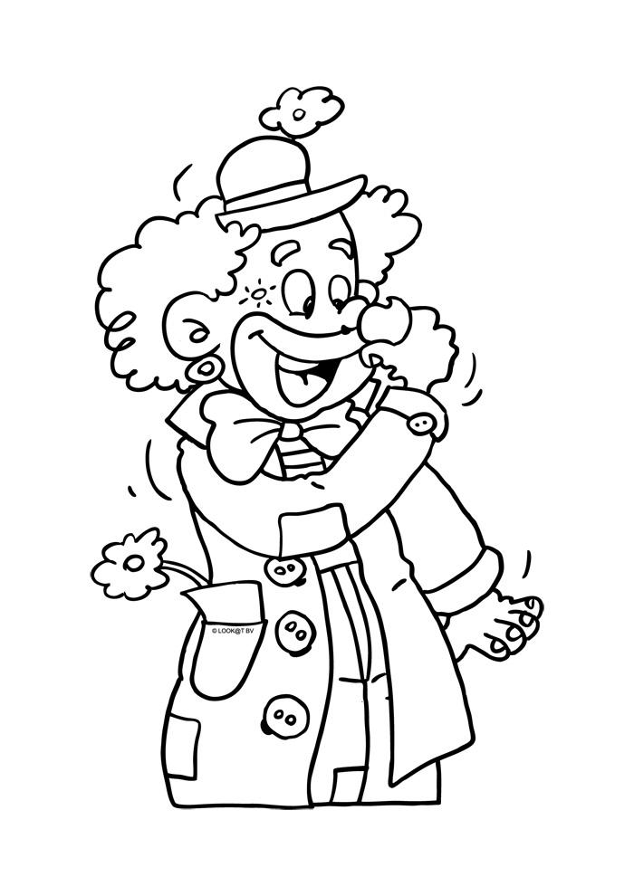 Kleurplaten Clown.Clown Met Bloem Clown Kleurplaten Kleurplaat Com