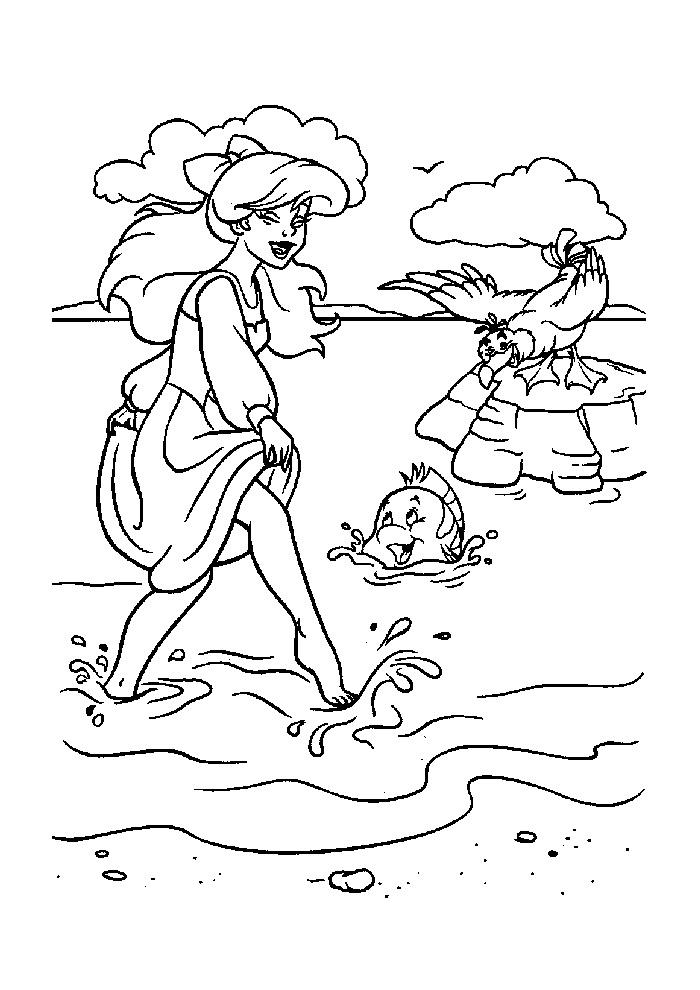 De kleine zeemeermin - op het strand