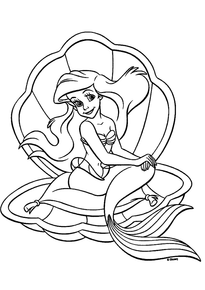 De kleine zeemeermin - zitten in de schelp