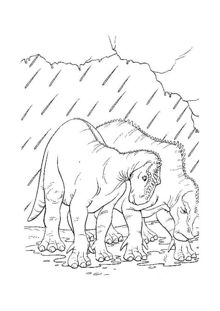 dinosaurus in de regen