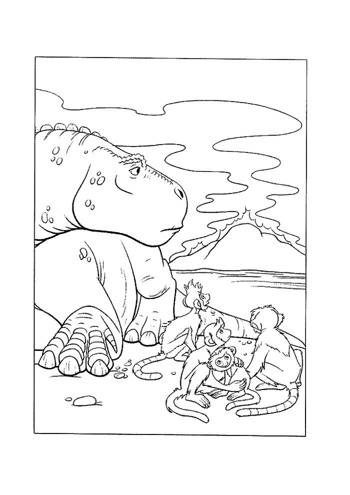 dinosaurus met aapjes