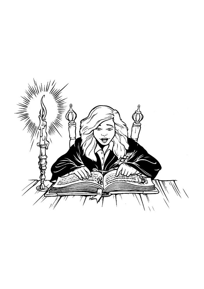 Harry Potter - hermelien aan het lezen