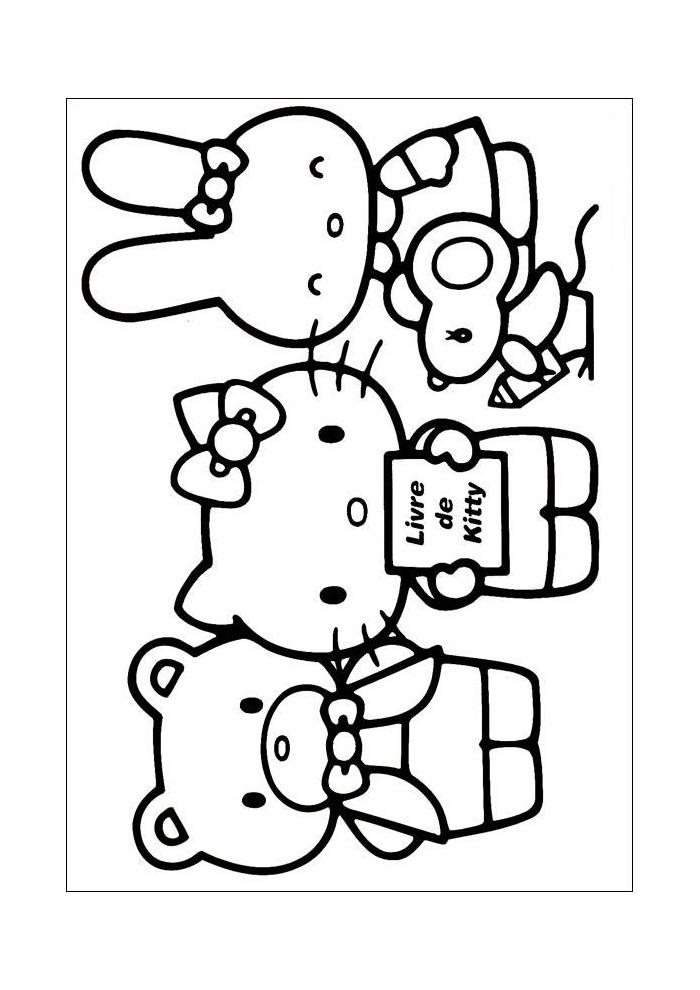 Kleurplaten Met Hello Kitty.Hello Kitty Met Vriendjes Hello Kitty Kleurplaten