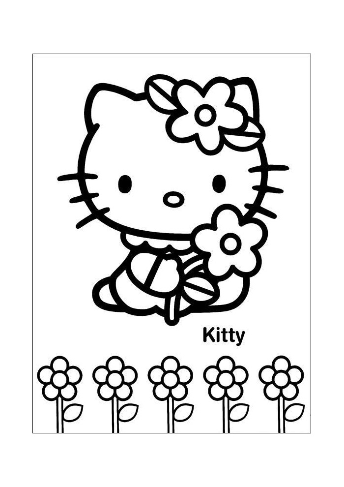 Kleurplaten Met Hello Kitty.Hello Kitty Bloemen Plukken Hello Kitty Kleurplaten