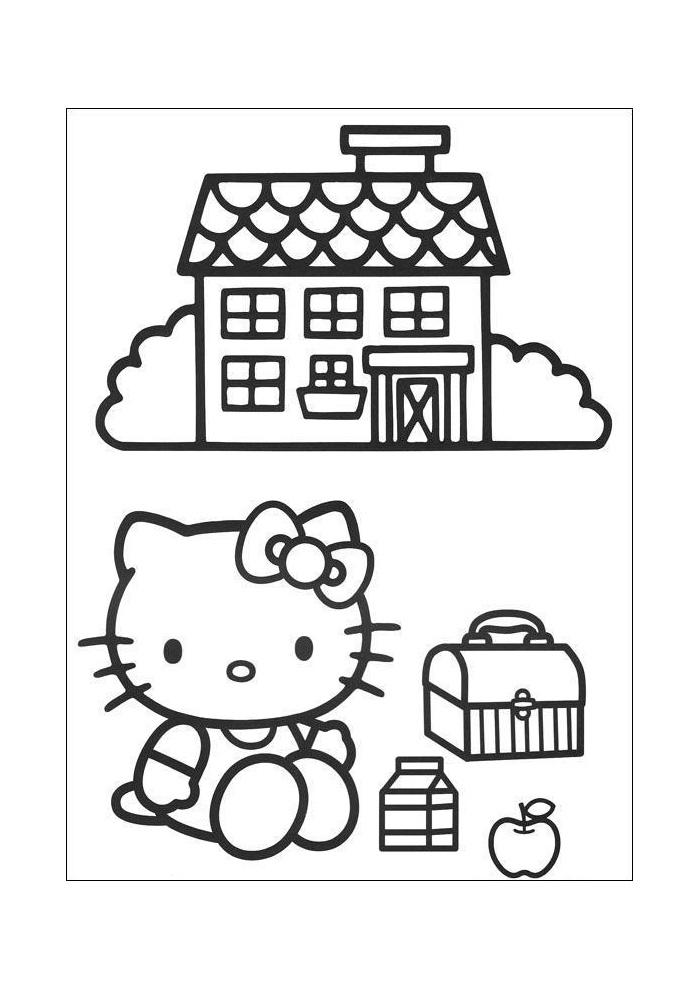 Kleurplaten Nieuw Huis.Hello Kitty Voor Het Huis Eten Hello Kitty Kleurplaten