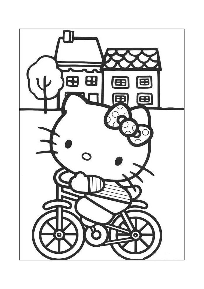 Hello Kitty Op De Fiets Hello Kitty Kleurplaten Kleurplaat Com