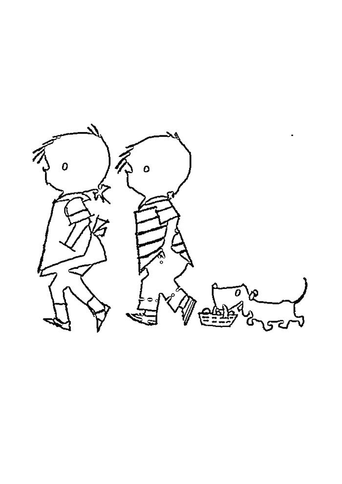 jip en jannke met hond wandelen