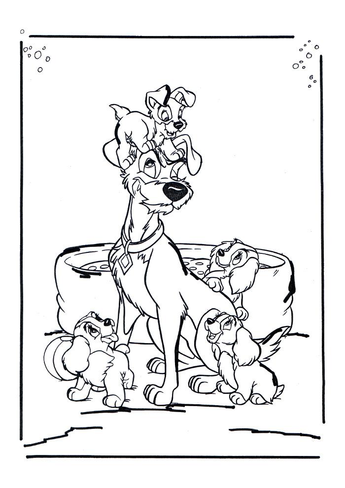 Lady en de Vagebond - papa met de pups