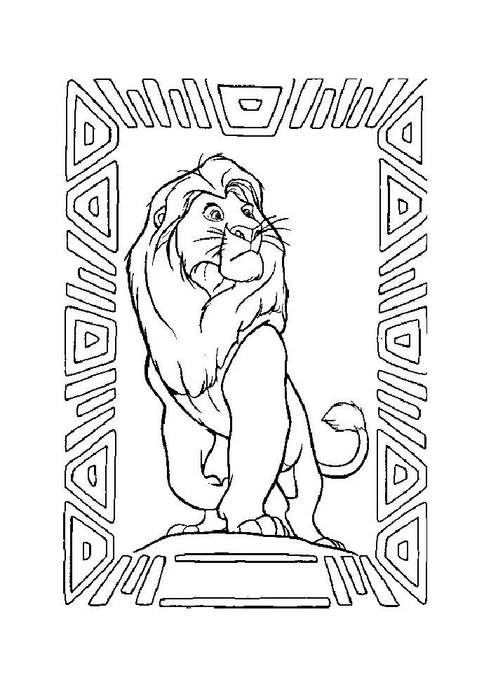 Kleurplaten Van De Leeuwenkoning.Leeuwenkoning Papa Van Simba Leeuwenkoning Kleurplaten