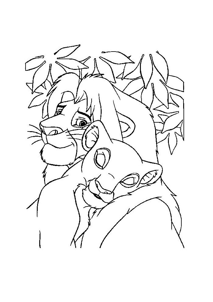 Leeuwenkoning Simba En Nala Zijn Verliefd Leeuwenkoning