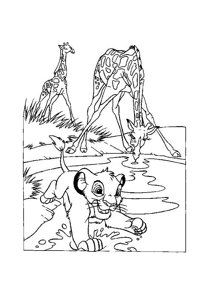 Kleurplaten Van De Leeuwenkoning.Leeuwenkoning Simba Rent Door Het Water Leeuwenkoning Kleurplaten
