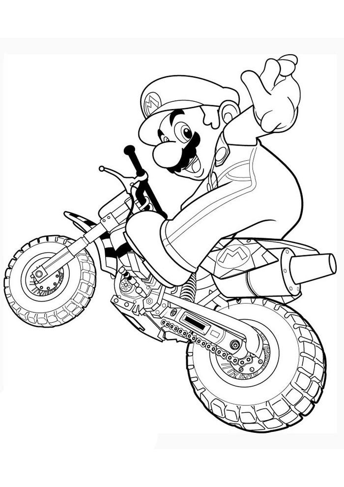 Kleurplaten Mario Kat.Mario Bros Op De Motor Mario Bros Kleurplaten Kleurplaat Com