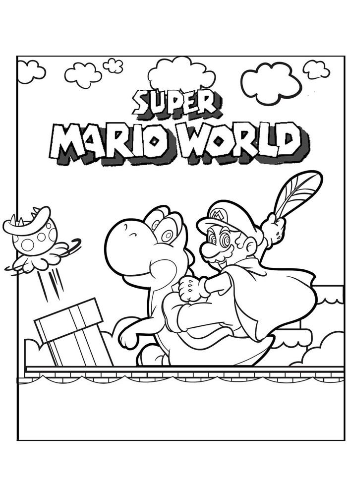 Kleurplaten Mario Kat.Mario Bros Super Mario World Mario Bros Kleurplaten