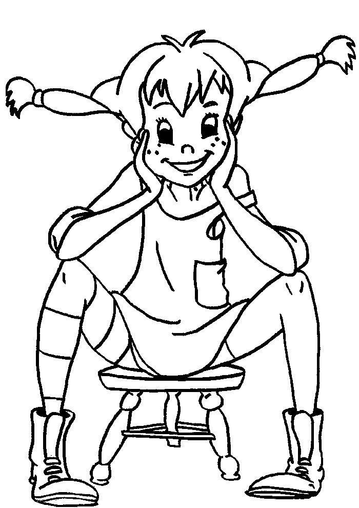 Pippi Langkous - zitten op een krukje
