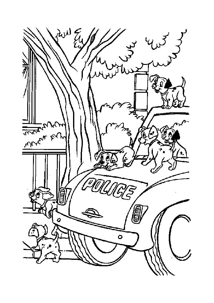 Kleurplaten Politieauto.Politieauto Met Hondjes Politieauto Kleurplaten