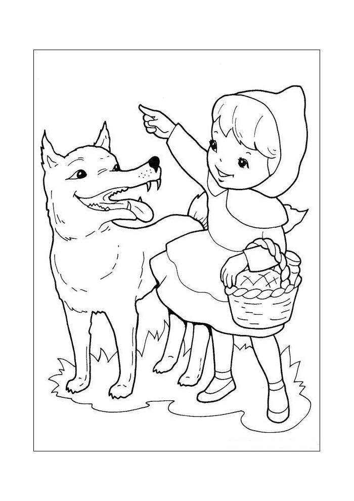 roodkapje boze wolf met roodkapje roodkapje kleurplaten