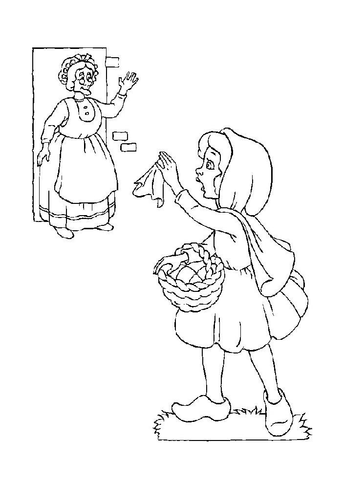 Roodkapje  - zwaait naar oma