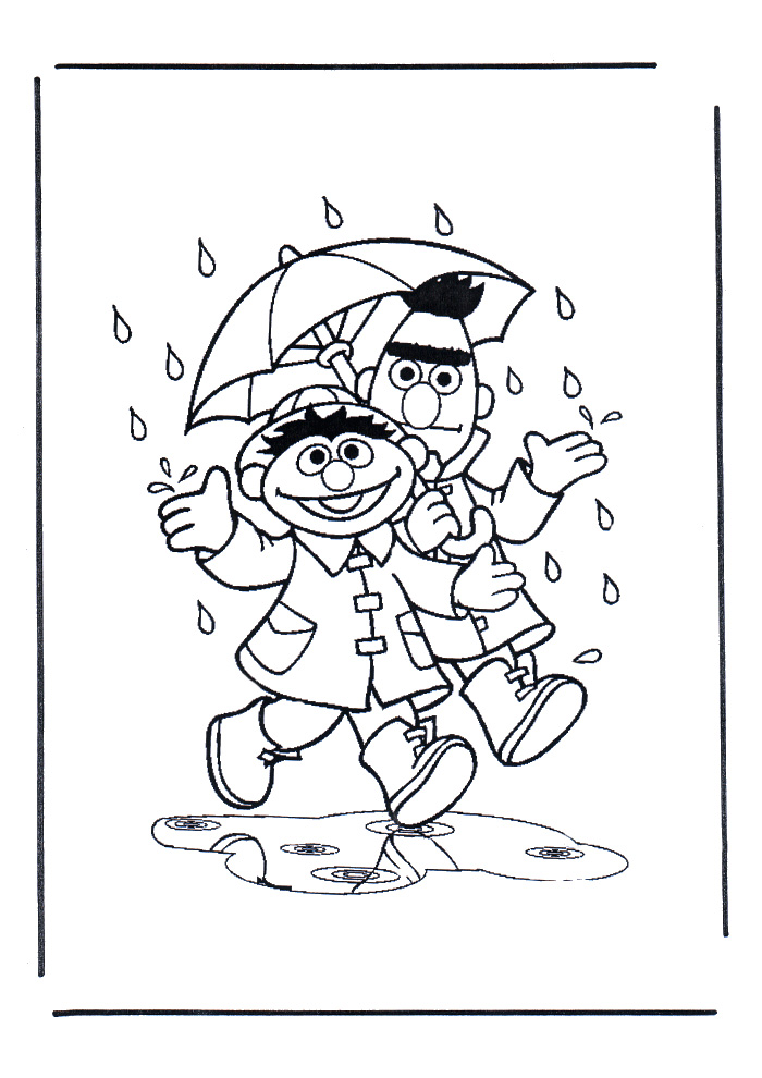 Sesamstraat - bert en ernie in de regen