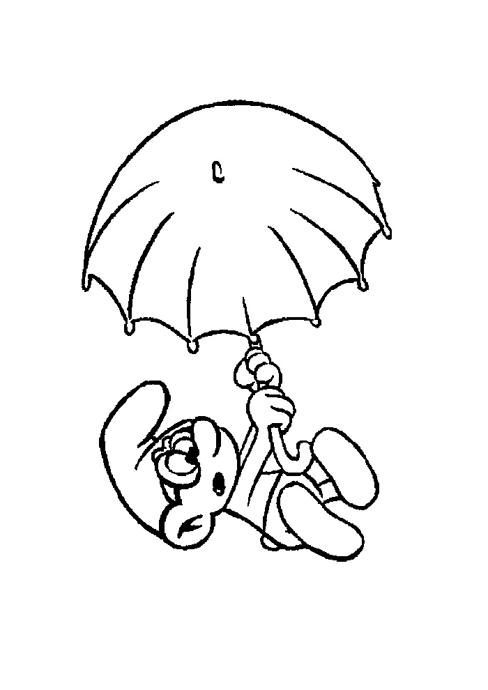 Kleurplaten Van Smurfen.Smurfen Smurf Met Een Paraplu Smurfen Kleurplaten Kleurplaat Com