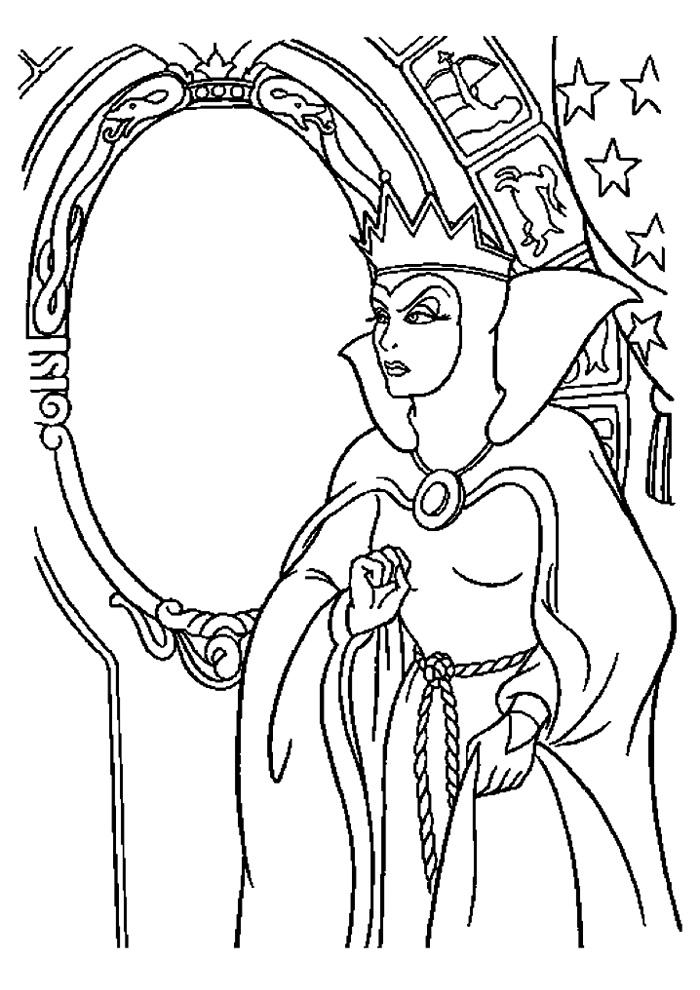 sneeuwwitje heks kijkt in de spiegel sneeuwwitje