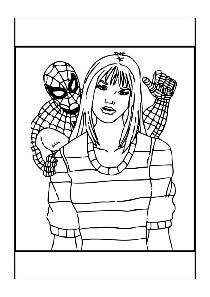 Spiderman - spiderman helpt een vrouw