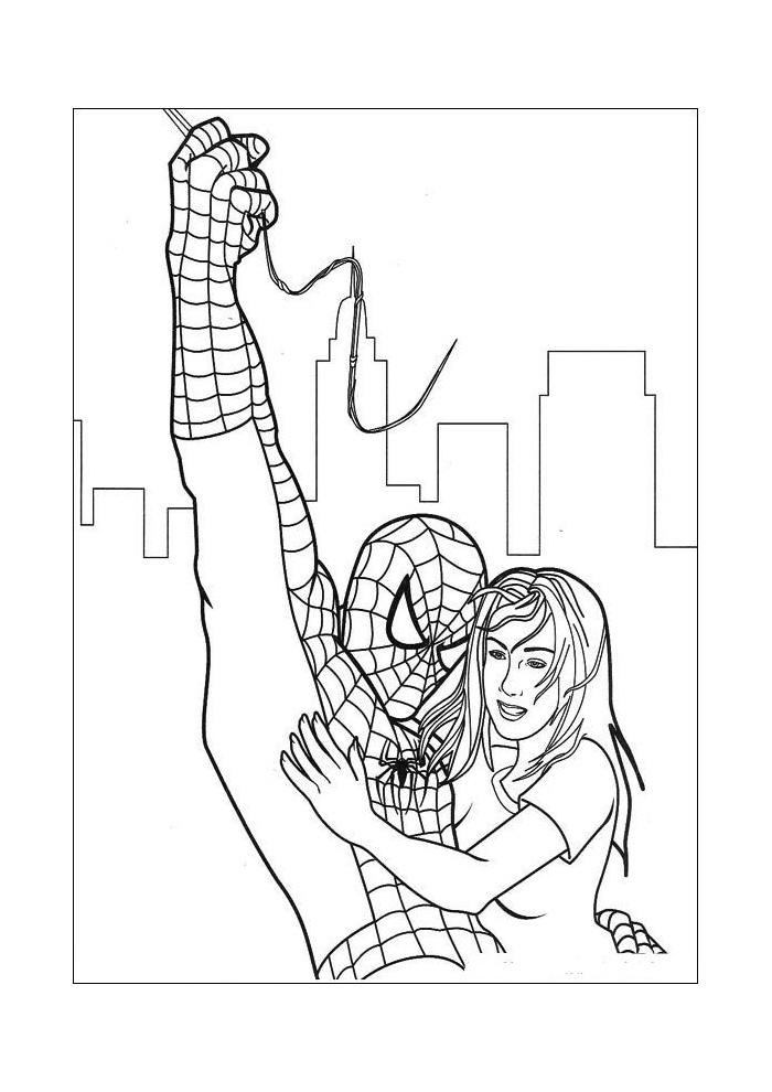 Spiderman - spiderman helpt een meisje